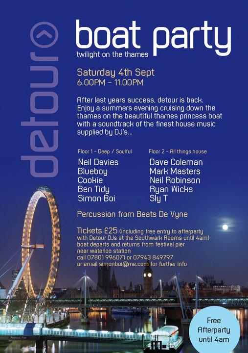 Detour Boat Party Sat 4 Sep 10