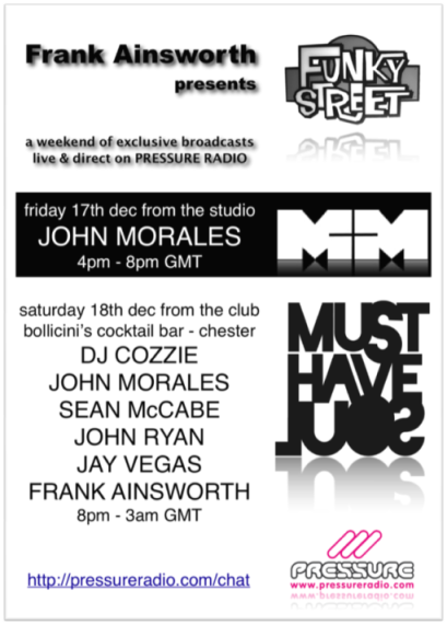 John Morales live on pressure radio and must have soul live event broadcast