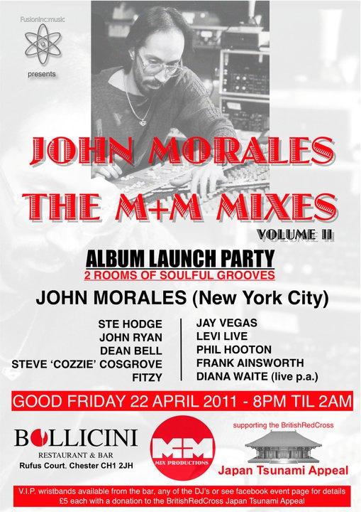 John Morales the M&M mixes Album launch party flyer