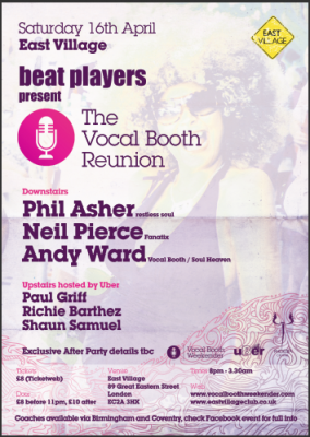 Vocal Booth Reunion East village saturday 16th April 2011 flyer