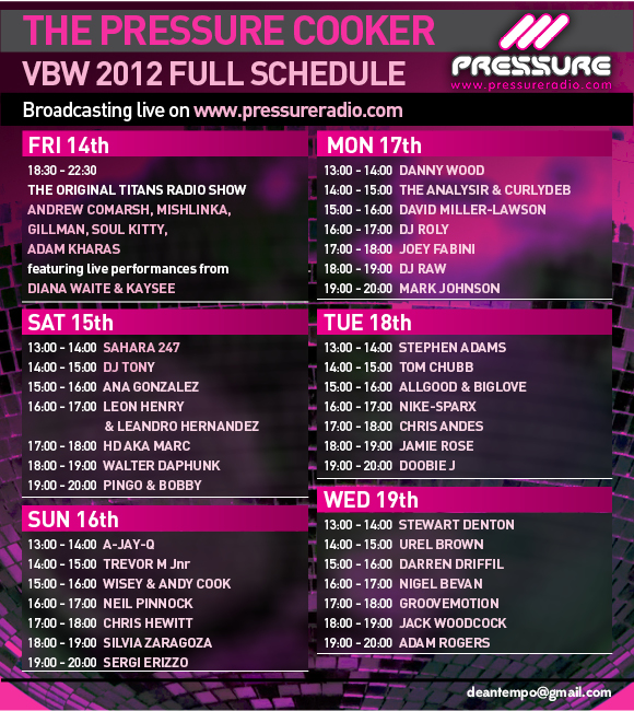 Vocal Booth Weekender Pressure Radio live Broadcast schedule flyer