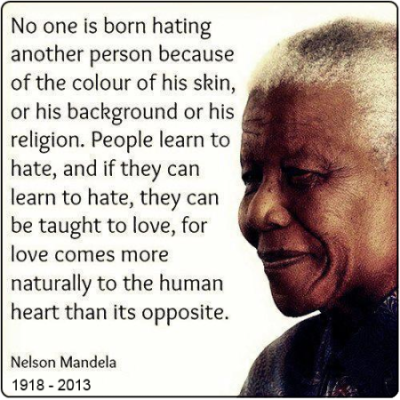 Nelson Mandela Quote on skin colour and background