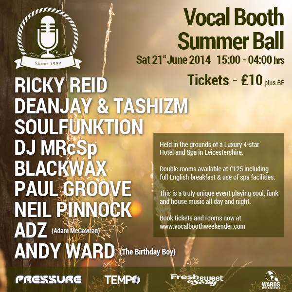 Vocal Booth Summer ball 21 June 2014 flyer