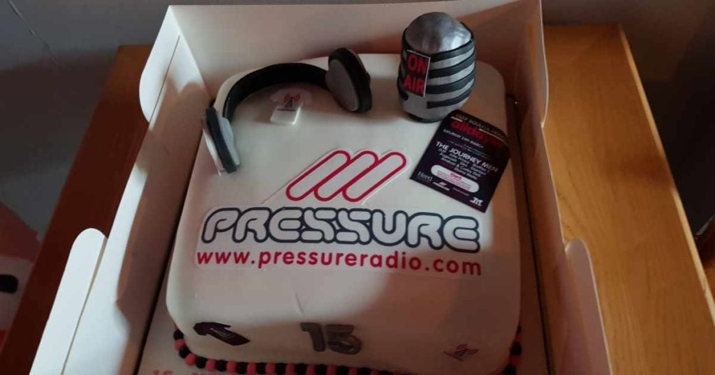 Pressure Radio 15 year Birthday Cake