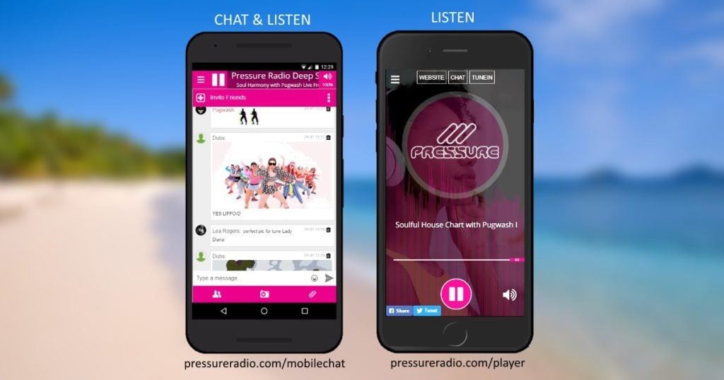 Pressure Radio Mobile chat and player apps