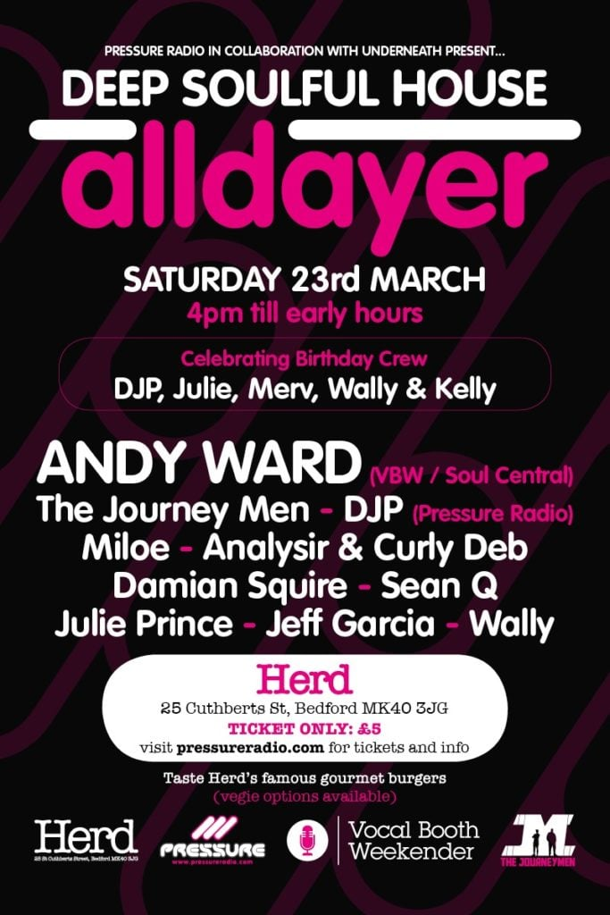 2019 Underneath Pressure Radio Alldayer with Andy Ward flyer image