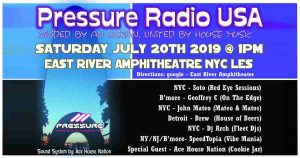 EVENT 20th July 2019 NYC USA Pressure Radio